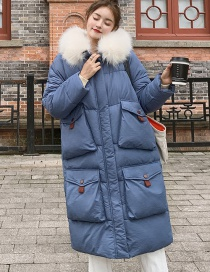 Fashion Smoky Blue Hooded Large Fur Collar Over The Knee Cotton Down Coat