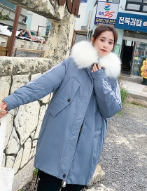 Fashion Blue Large Fur Collar Hooded Stitching Cotton Suit