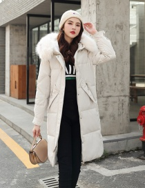 Fashion Creamy-white Lingge Large Fur Collar Over The Knee Thickened Down Cotton Padded Clothes