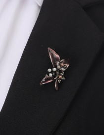 Fashion Red Alloy Drip Butterfly With Pearl Brooch