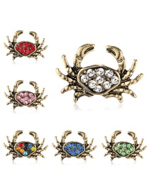 Fashion Gold Alloy Diamond Crab Brooch 6 Packs