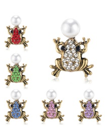Fashion Gold Alloy Diamond Pearl Frog Brooch 6 Pack