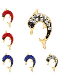 Fashion Gold Alloy Diamond Dolphin Brooch 6 Pack