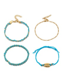 Fashion Blue Braided Rope: Rice Beads: Shell Anklet: 4 Sets