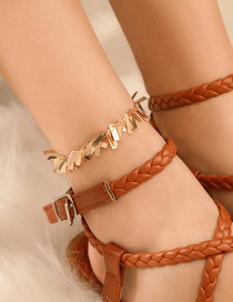 Fashion Gold Alloy Geometric Rectangular Sequined Tassel Anklet