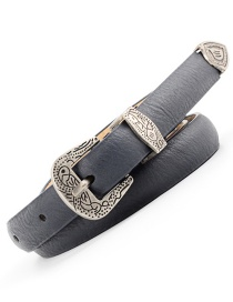 Fashion Navy Carved Pin Buckle Belt