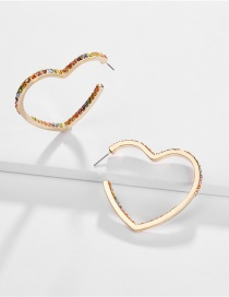 Fashion Gold Alloy Heart-shaped Gemstone Drill Hollow Earrings