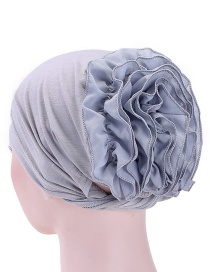 Fashion Gray Chiffon Disk Flower Cap