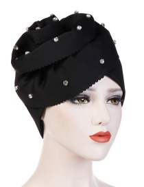 Fashion Black Nail Drill Oversized Flower Flanging Space Cotton Baotou Cap