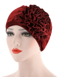 Fashion Red Wine Side Flower Flower Baotou Cap