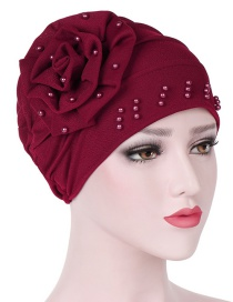 Fashion Red Side Flower Flower Beaded Large Flower Headscarf Cap