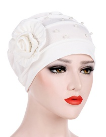 Fashion White Side Flower Flower Beaded Flower Baotou Cap