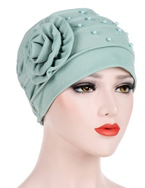 Fashion Mint Green Side Flower Flower Beaded Flower Baotou Cap