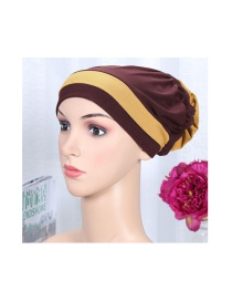 Fashion Dark Brown Two-color Elastic Cloth Wearing A Flower Headband Hat