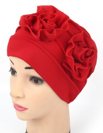Fashion Red Double Flower Baotou Cap