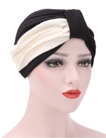 Fashion Black Two-color Stitching Pleated Headgear