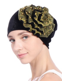 Fashion Black Yellow Gold Velvet Beaded Flower Double-layer Mesh Edging Scarf Cap