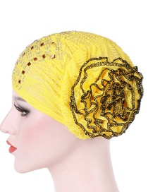 Fashion Yellow Hot Drilling Double Color Flower Baotou Cap
