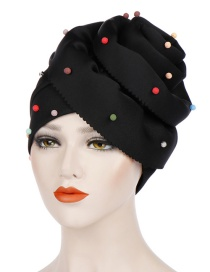 Fashion Black Beaded Large Flower Head Cap