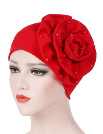 Fashion Red Side Flower Large Flower Nail Pearl Turban Cap