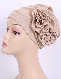 Fashion Khaki Corn Grain Double Flower Pleated Turban Cap