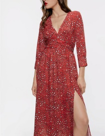 Fashion Red Animal Print Dress