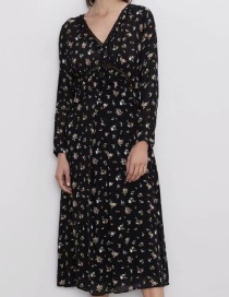 Fashion Black Flower Print Dress