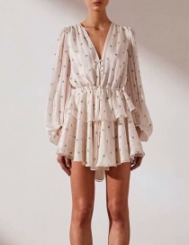 Fashion White Multi-layer Lace V-neck Dress