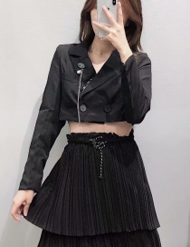 Fashion Black Rhinestone Brooch Short Suit