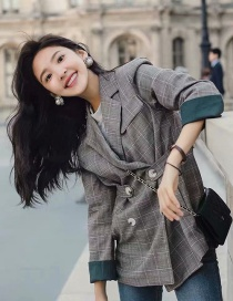 Fashion Khaki Plaid Suit