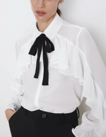 Fashion White Butterfly Laminated Shirt