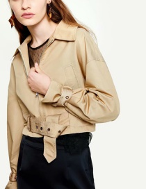 Fashion Khaki Lapel Belt Jacket
