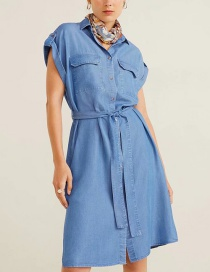 Fashion Blue Denim Roll Cuff Shirt Dress