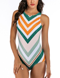 Fashion Stripe Siamese Surf Suit
