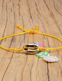 Fashion Yellow Fringed Shell Rice Beads Woven Pineapple Bracelet