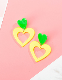 Fashion Yellow Fluorescent Contrast Color Love Stitching Acrylic Earrings