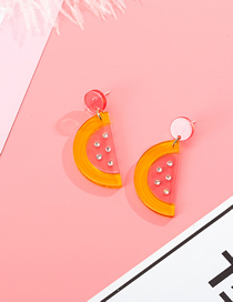 Fashion Yellow Powder S925 Silver Needle Contrast Color Watermelon And Diamond Acrylic Earrings