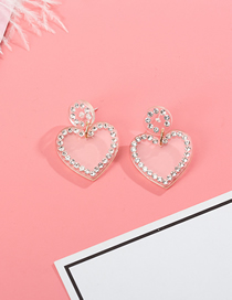 Fashion White S925 Silver Needle Love Diamond-encrusted Stitching Stud Earrings
