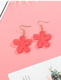 Fashion Watermelon Red Petals Transparent Acrylic Earrings