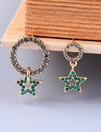 Fashion Gold Crystal Diamond Star Circle Stud Earrings