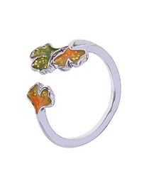 Fashion Yellow Drip Maple Leaf Hand Open Ring
