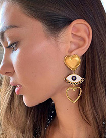 Fashion Gold Alloy Love Eye Studs
