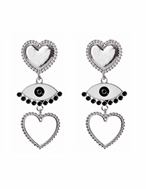 Fashion Silver Alloy Love Eye Studs
