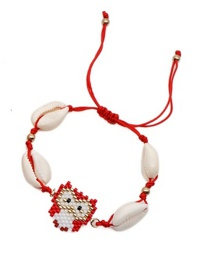 Fashion Red Natural Shell Woven Owl Bracelet
