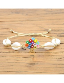 Fashion White Shell Weave Multicolored Life Tree Bracelet
