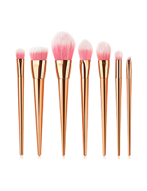 Fashion Rose Gold 7 Contrast Color Long Tube Powder White Hair Makeup Brush