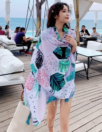 Fashion Color Plant Leaf Print Tassel Scarf Shawl