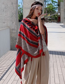 Fashion Red Side Wave Pattern Color Print Tassel Scarf Shawl
