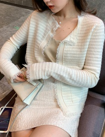 Fashion White Solid Color Cardigan