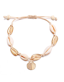 Fashion Gold Natural Shell Braided Rope Scallop Anklet